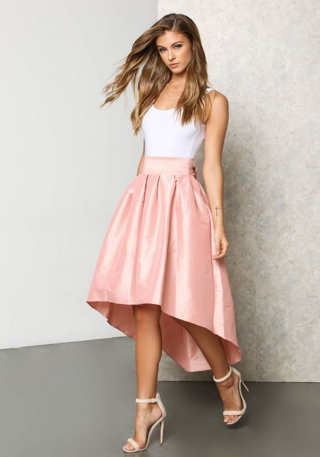 Dusty Pink Lustrous Taffeta Hi-Lo Pleat Skirt