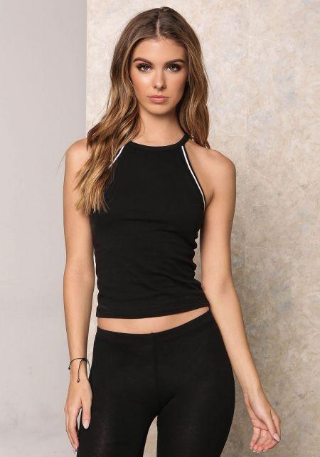 Black Jersey Knit Stripe Outline Tank Top
