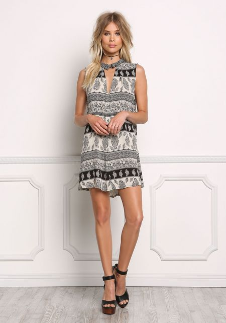 Black and Taupe Gauze Paisley Collared Dress