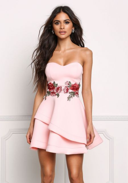 Blush Strapless Rose Applique Flared Dress