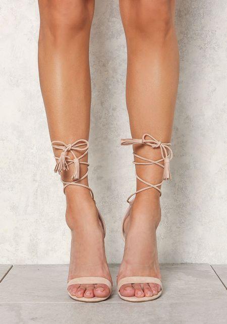 Nude Suedette Lace Up Tassel Strap Heels