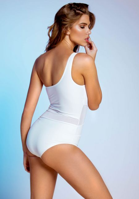 White One Shoulder Mesh Monokini