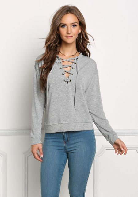 Heather Grey Pullover Lace Up Sweater Top