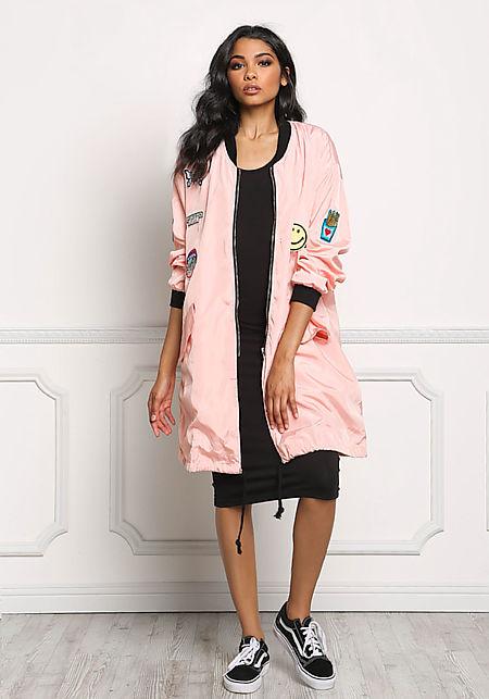 Pink Long Windbreaker Patch Bomber Jacket