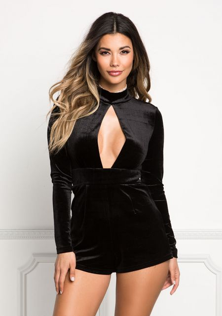 Black Plunge Keyhole Cut Out Velvet Romper