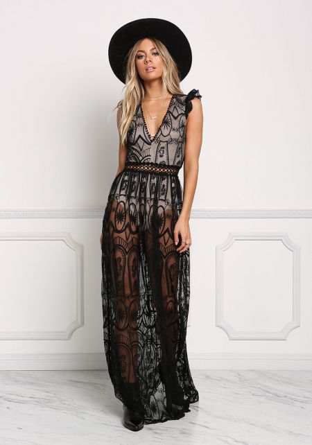 Black Lace Embroidered Open Back Maxi Dress