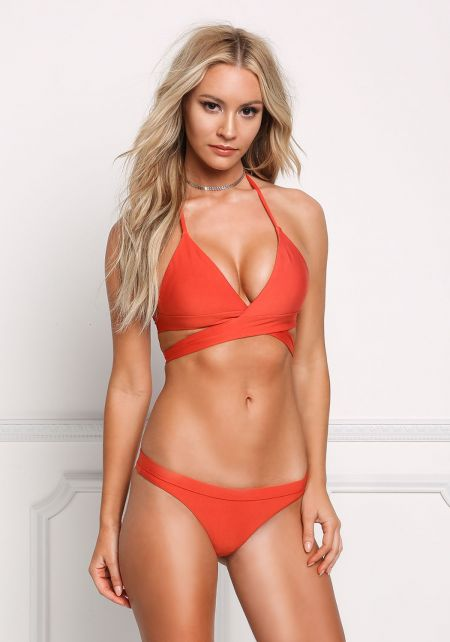 Rust Tie Back Triangle Swimsuit Bikini Top