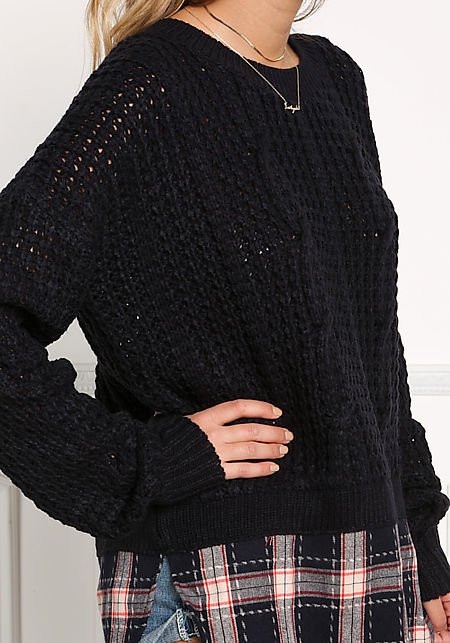 Navy Plaid Trim Chunky Knit Sweater