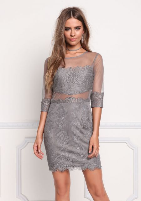 Grey Lace Tulle Scallop Dress