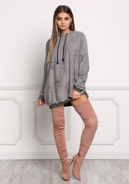 Grey Distressed Hooded Sweater Top
