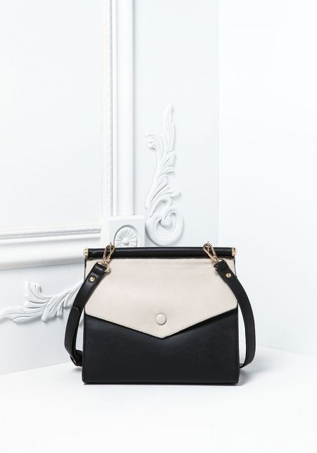 Black and Grey Leatherette Two Tone Double Flap Cr