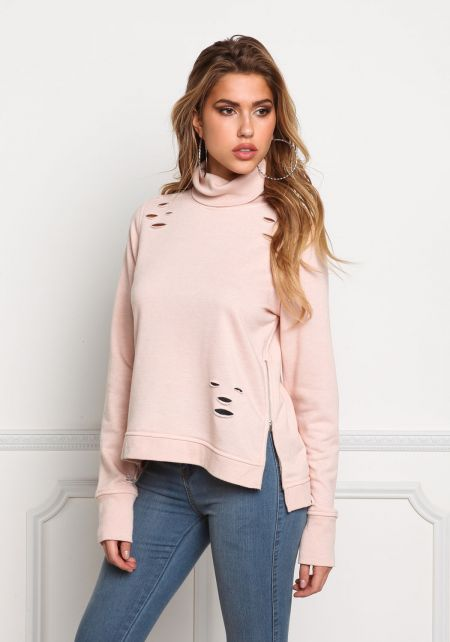 Blush Distressed Turtleneck Sweater Top