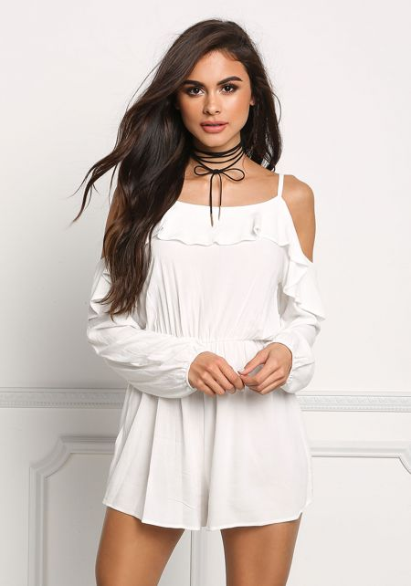 Off White Gauze Cold Shoulder Ruffle Layered Rompe