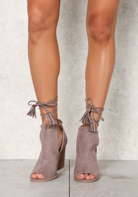 Taupe Suedette Lace Up Cut Out Booties