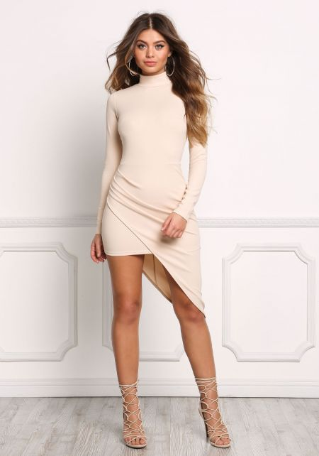 Cream Asymmetrical Slit Surplice Bodycon Dress