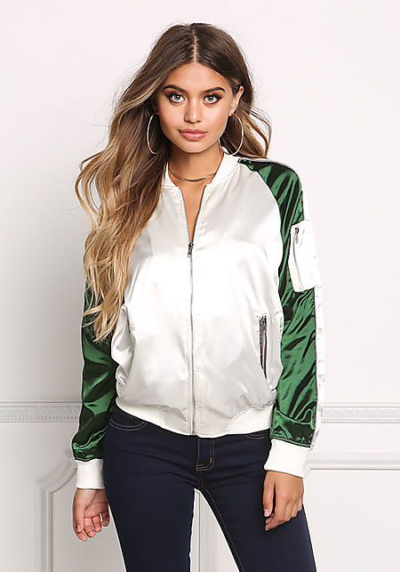Green Two Tone Satin Bomber Jacket