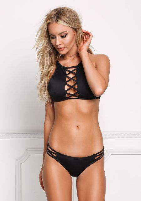 Black X Strap Low Rise Swimsuit Bikini Bottoms