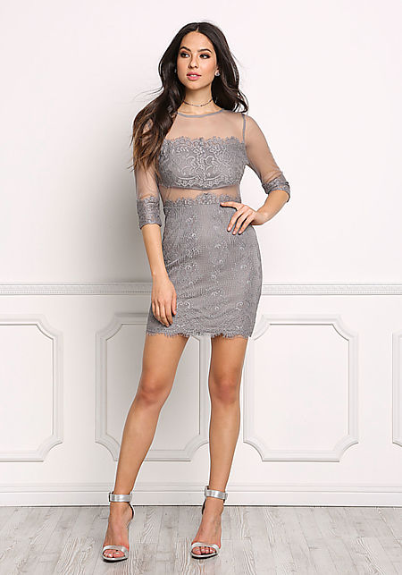 Grey Lace Tulle Bodycon Dress