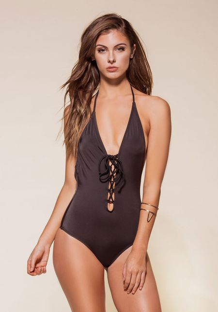 Black Plunge Lace Up Open Back Monokini