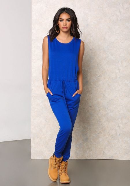 Royal Blue Jersey Knit Scooped Jumpsuit