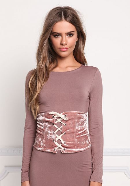 Mauve Crushed Velvet Lace Up Corset Belt
