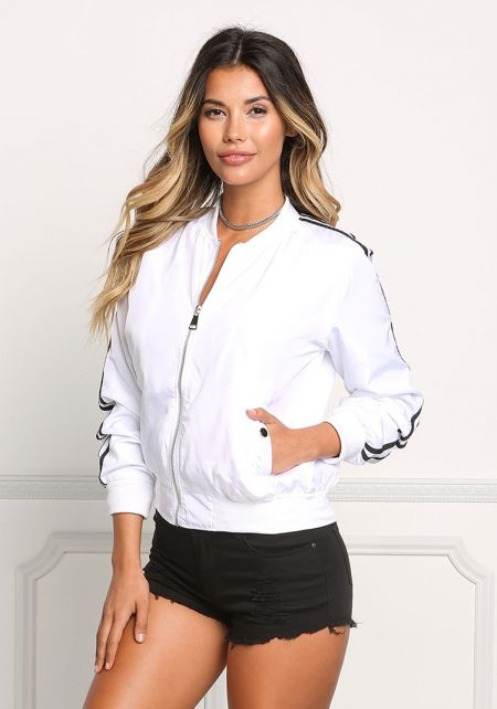 White Striped Bomber Jacket