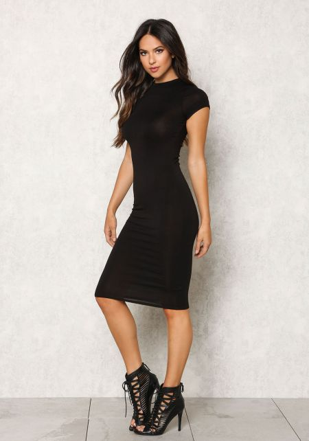 Black Jersey Knit Solid Bodycon Dress