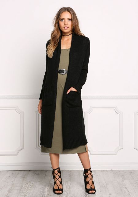 Black Chunky Knit Longlined Pocket Cardigan