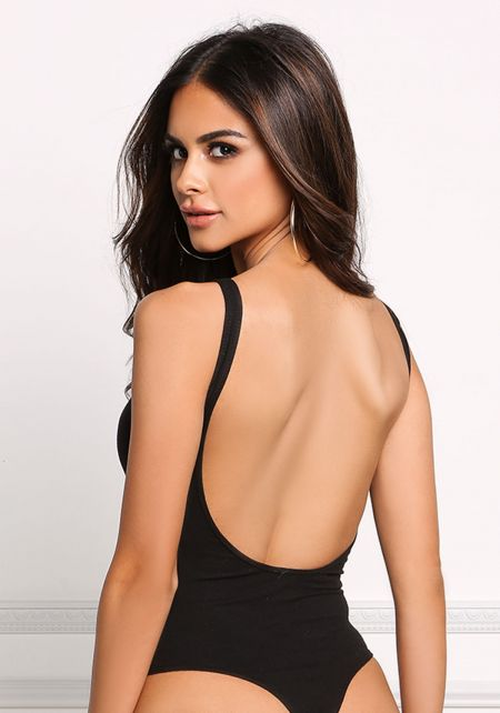 Black Deep Back Cut Out Bodysuit