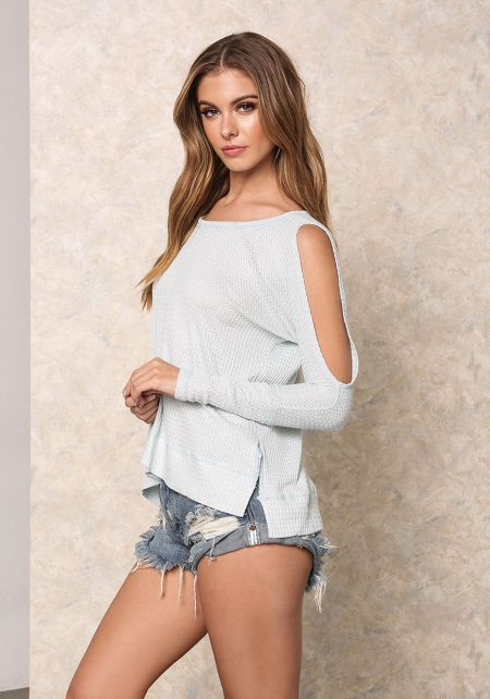 Light Blue Thermal Cut Out Hi-Lo Top