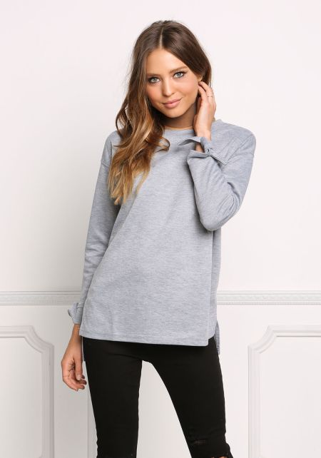 Heather Grey Tied Sleeve Pullover Sweater Top