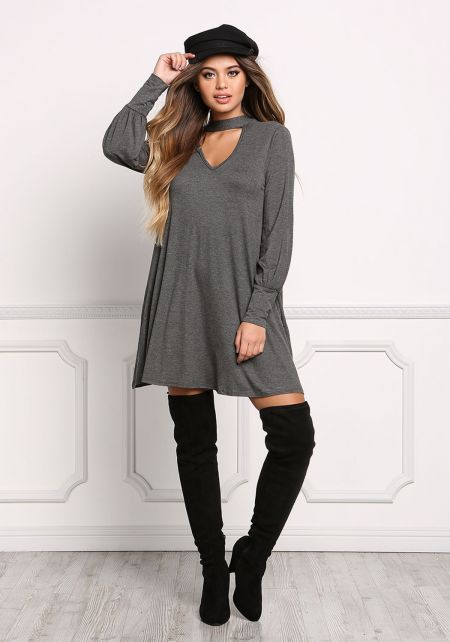 Charcoal Tie Back Cut Out Jersey Knit Shift Dress