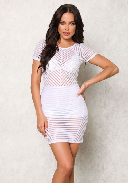 White Stripe Mesh Bodycon Dress