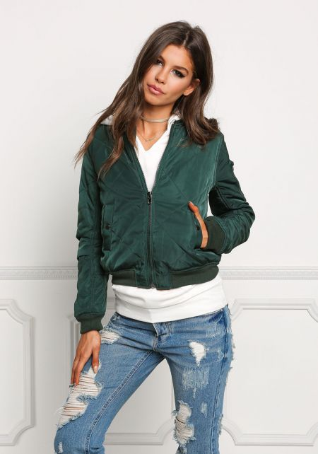 Hunter Green Quilted Bomber Jacket