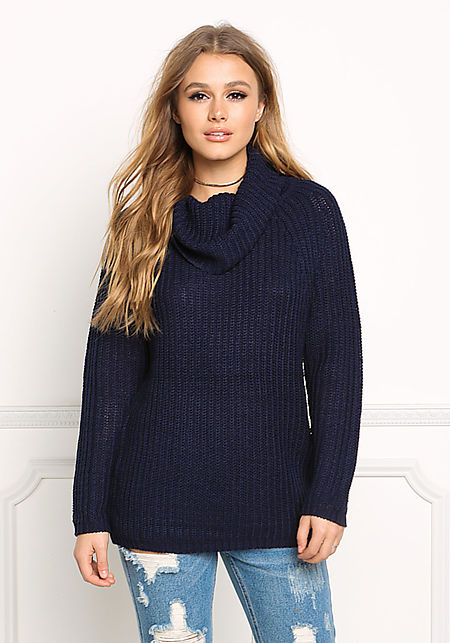 Navy Turtleneck Chunky Sweater Top