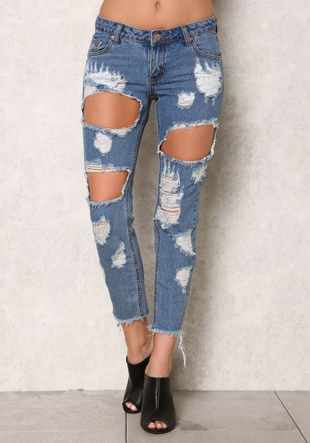 Denim Low Rise Cut Out Frayed Jeans