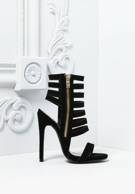 Black Suedette Multi Strap Heels