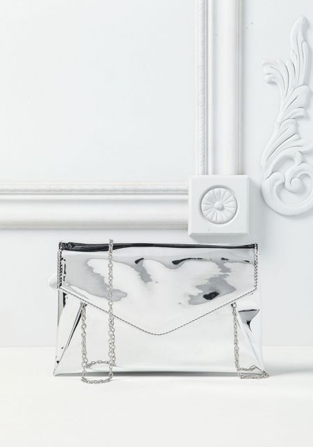 Silver Envelope Chrome Clutch