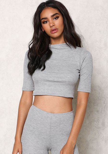 Heather Grey Thermal Crew Neck Crop Top