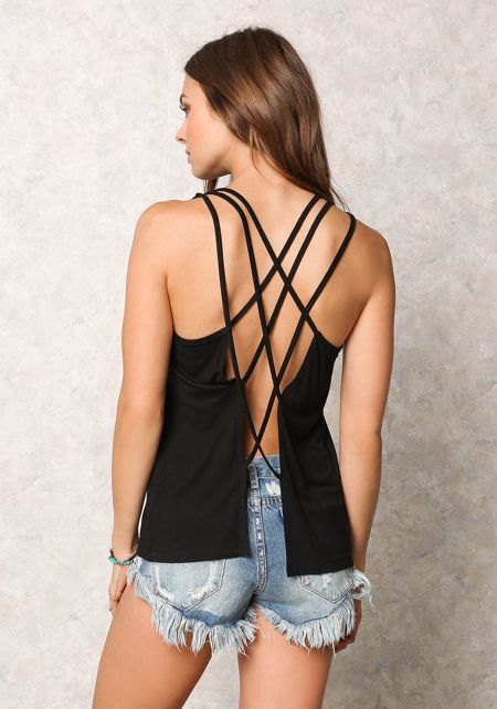 Black Jersey Knit Triple Cross Strap Tank Top