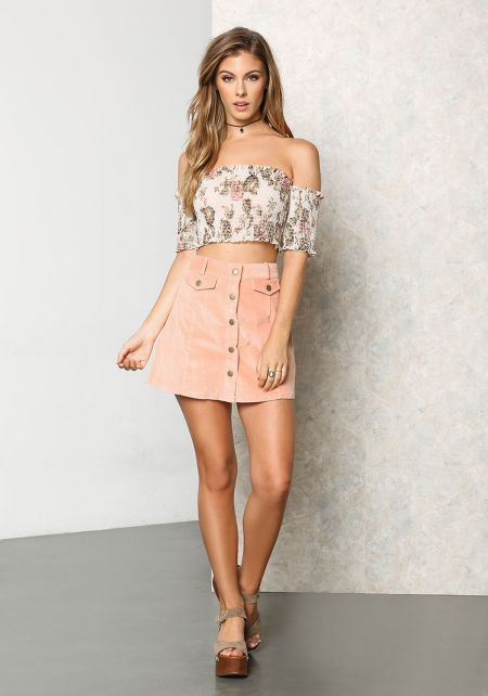 Blush Corduroy Button A-Line Mini Skirt
