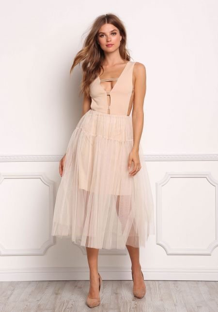 Blush Tulle High Rise A-Line Skirt