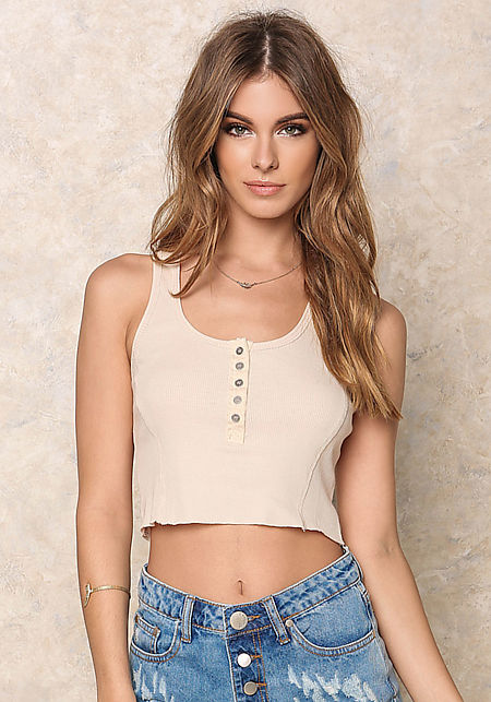 Beige Ribbed Knit Button Crop Top