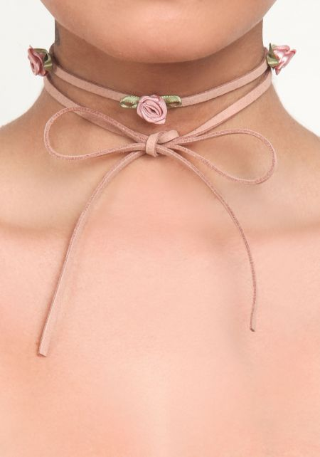 Dusty Pink Suedette Rose Wrap Around Choker