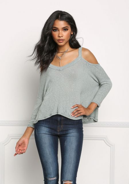 Mint Clingy Ribbed Knit Cold Shoulder Top