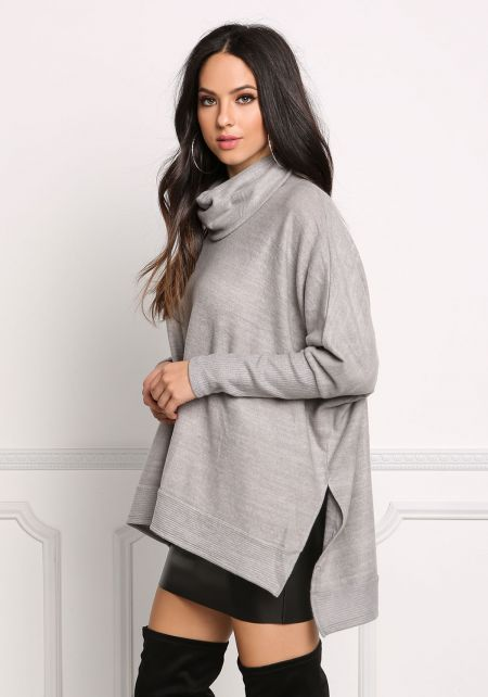 Heather Grey Cowl Neck Slit Sweater Top