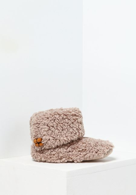 Beige Fold Over Bootie Slippers