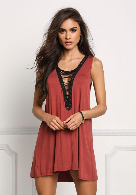 Brick Jersey Knit Low Lace Up Tunic Top