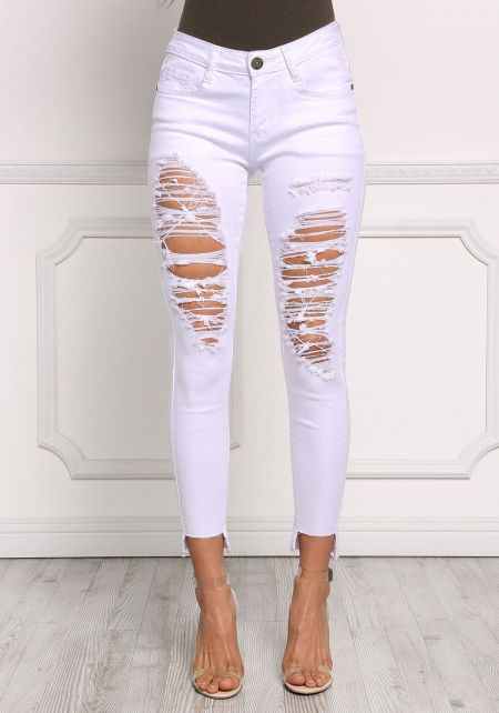 White Distressed Cut Out Skinny Jeans