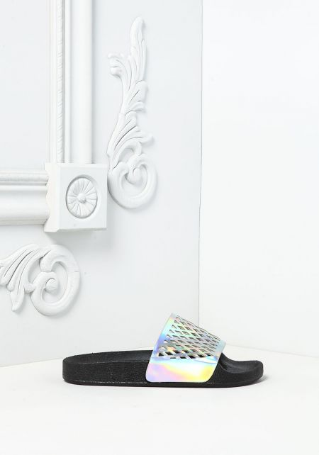 Hologram Laser Cut Slide Sandals